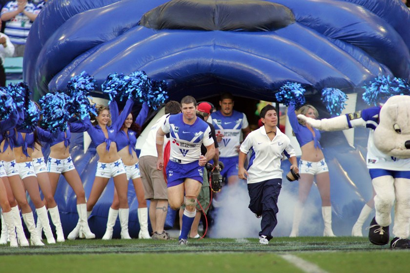 Andrew Ryan leads the Bulldogs out on to ANZ Stadium during his playing days at the club.