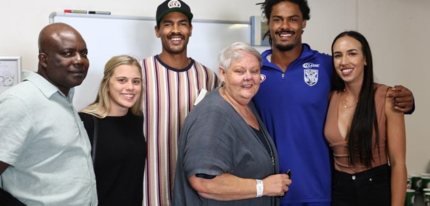 The moment Jayden Okunbor received his first NRL jersey