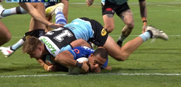 Hopoate steps past Dugan to score