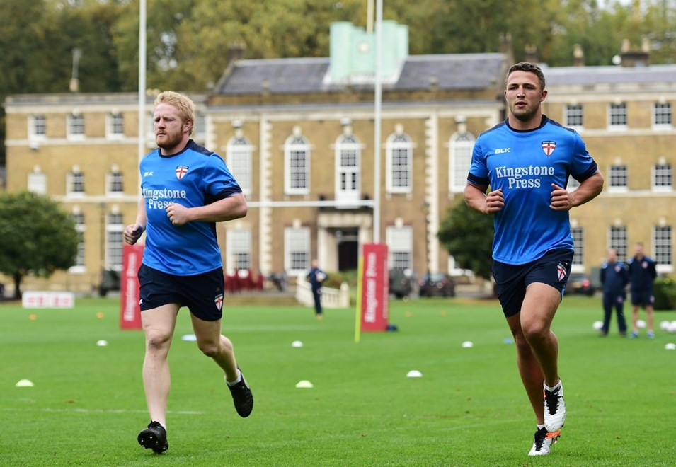 Picture by Alex Broadway/SWpix.com - 16/10/2016 - Rugby League - England Rugby League Training Session - HAC, London, United Kingdom - James Graham and Sam Burgess of England.
