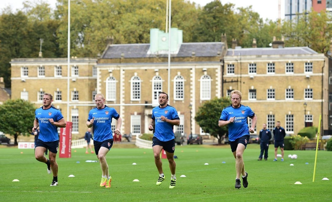Picture by Alex Broadway/SWpix.com - 16/10/2016 - Rugby League - England Rugby League Training Session - HAC, London, United Kingdom - George Burgess, Liam Farrell, and James Graham of England.