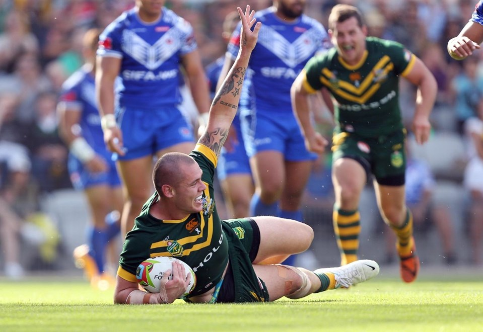 David Klemmer scores : Australia V Samoa 4 Nations Rugby League Test Match at WIN Stadium Wollongong. Sunday 9th November 2014. Pic by Robb Cox © NRLPhotos.com
