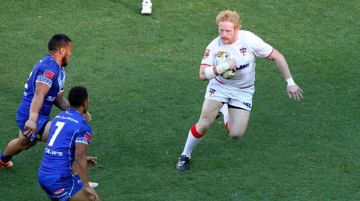 Photo by Charles Knight copyright nrlphotos.com : James Graham. International Rugby League England v Samoa