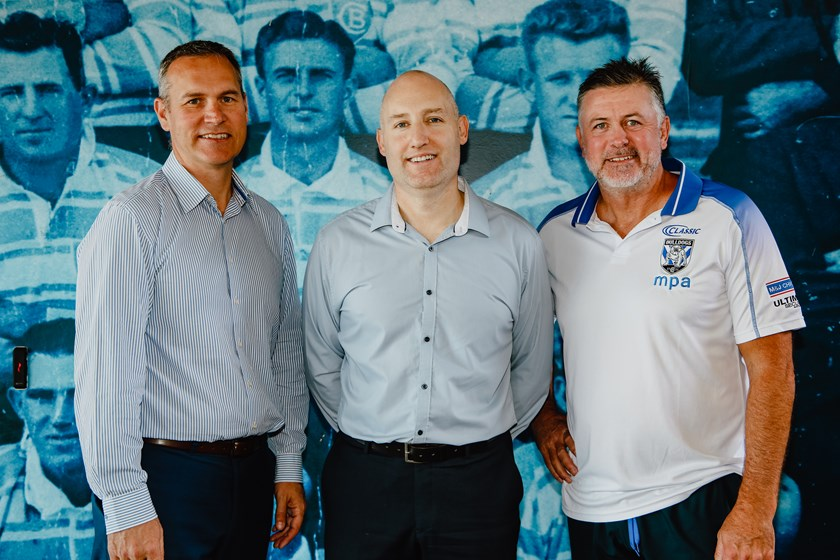 Bulldogs CEO Andrew Hill, Temperzone/Hitachi Cooling & Heating Group Brand Manager Damien Walsh, Bulldogs Head Coach Dean Pay