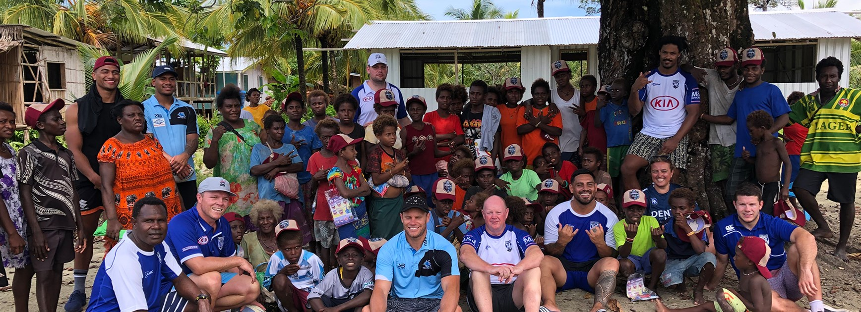 Bulldogs players help out in PNG