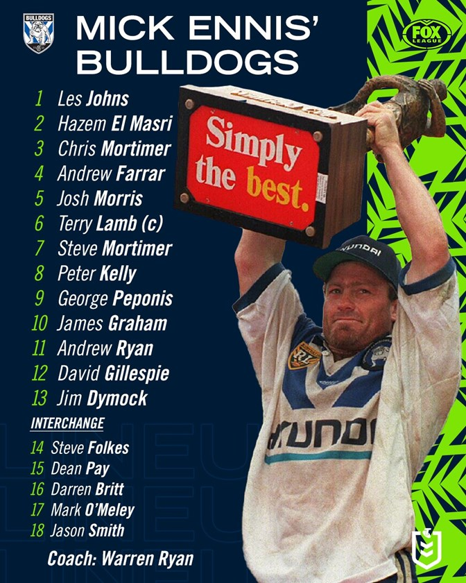 Michael Ennis names his all-time Bulldogs team. SOURCE: FOX LEAGUE