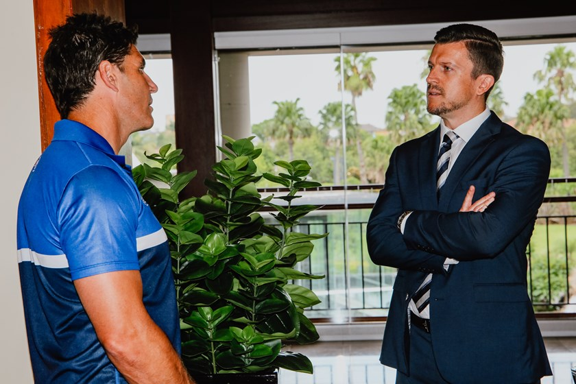 CEO Aaron Warburton chats with Head Coach Trent Barrett.